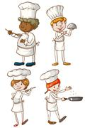 Male and female chefs Piirros