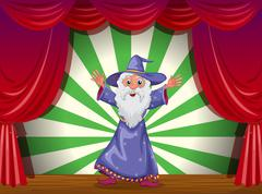 A wizard doing magic on the stage - stock illustration
