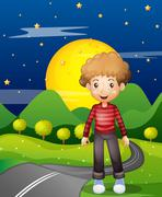 A man in the street wearing a stripe sweatshirt Stock Illustration