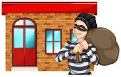 A man robbing the building Stock Illustration