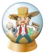 A cowboy holding a gun inside the crystal ball Stock Illustration
