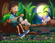 A young boy sitting above the roots of a giant tree - stock illustration