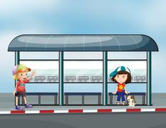 Stock Illustration of Passengers at the waiting shed