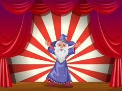 Stock Illustration of A wizard in the middle of the stage with a red curtain