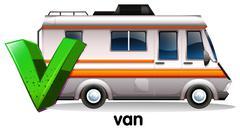 A letter V for van Stock Illustration