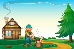 A lumberjack chopping the woods at the hilltop near the wooden house - stock illustration