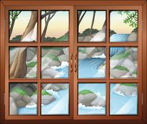 Stock Illustration of A closed window near the waterfall