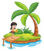 Stock Illustration of A girl holding a pail above the wooden diving board