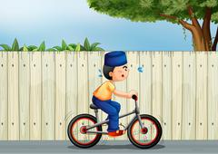 A tired boy biking - stock illustration