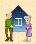 A grandfather and a grandmother Stock Illustration