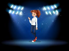 A smart looking girl at the stage - stock illustration