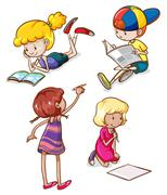 Simple sketches of kids reading and writing - stock illustration