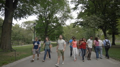 Group Foreigners Tourists Walking Central Park Manhattan New York City 4K Stock Footage