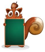 Stock Illustration of A squirrel hiding at the back of an empty blackboard