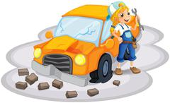 A young girl fixing an orange car Stock Illustration