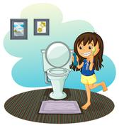 A girl in the comfort room - stock illustration