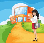 A teacher going to the school - stock illustration