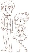 A simple sketch of a couple in formal attire Stock Illustration