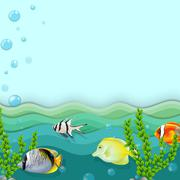 Stock Illustration of A sea with fishes