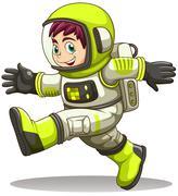 A happy astronaut - stock illustration