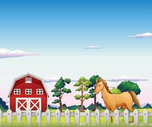 A horse inside the fence with a barn Stock Illustration