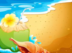 A refreshing drink at the beach - stock illustration