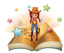 A book with a pretty cowgirl - stock illustration