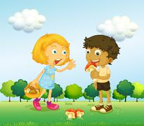 A girl and a boy picking up mushrooms Piirros