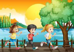 Three kids running at the port Stock Illustration