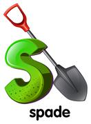 A letter S for spade Stock Illustration