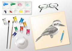 Materials used when painting Stock Illustration