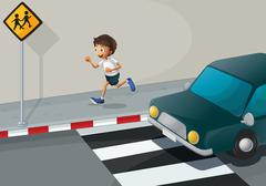 A man running at the road with a car Stock Illustration