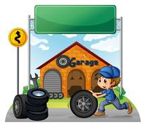 A boy pushing the tire below the empty signboard Stock Illustration