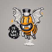 Cartoon Monster I'll Bee Bat - stock illustration