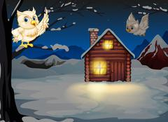 Owls appearing in the middle of the night near the wooden house Stock Illustration