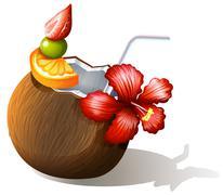 A refreshing beach drink Stock Illustration
