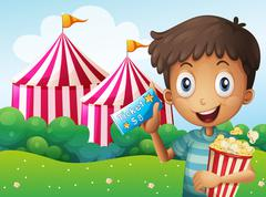 A boy holding a ticket and a pail of popcorn - stock illustration