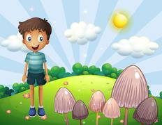 A happy boy at the hill with mushrooms Stock Illustration