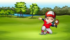 A baseball catcher at the field - stock illustration