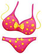 A pink bikini - stock illustration