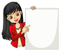 A girl with a long hair holding an empty signage - stock illustration