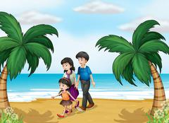 A family walking at the beach - stock illustration