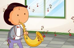 A man playing a trumpet - stock illustration