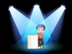 A boy with a framed signage at the stage - stock illustration