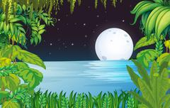 A lake in the forest under the bright fullmoon - stock illustration