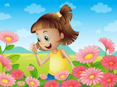 A happy young girl smiling at the garden Stock Illustration