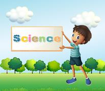 A boy holding a science signage Stock Illustration