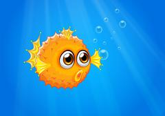 An ugly puffer fish in the ocean - stock illustration