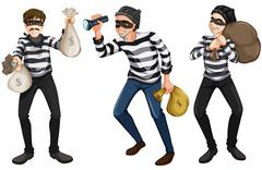 Three thieves Stock Illustration