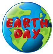 A globe with Earth day label - stock illustration